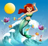 image of school fish  - Illustration of a big wave with a mermaid and a school of fishes - JPG