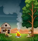 Illustration of the two explorers making a campfire