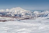 View Of Nalychevo Nature Park And Zhupanovsky Volcano. Kamchatka, Far East. Russia