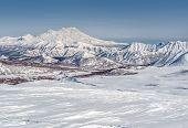 View Of Nalychevo Nature Park And Zhupanovsky Volcano. Kamchatka, Far East. Russia