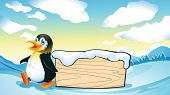 Illustration of a penguin and an empty wooden template in the snowy area
