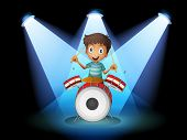 Illustration of a young drummer in the middle of the stage