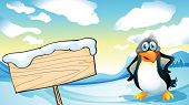 Illustration of a penguin beside the empty wooden signboard