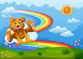 Illustration of a sky with a bear playing near the rainbow