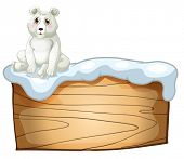 Illustration of a polar bear above an empty wooden board on a white background
