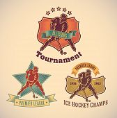 Set of vintage styled ice hockey tournament labels. Editable vector illustration.
