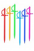picture of rapier  - Colorful Plastic Food Skewers On White Background - JPG