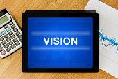 Vision Word On Digital Tablet