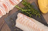 picture of cod  - Cod lard rosemary and potato for a fish dish - JPG