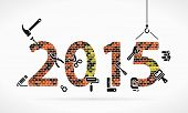 image of nail paint  - Build new year 2015 construction site illustration - JPG