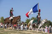 French Soldiers Are Prepared For Combat In In The Field Of Battle In Representation Of The Battle Of