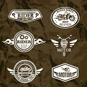 stock photo of motorcycle  - motorcycle vintage labels set of grunge emblems - JPG