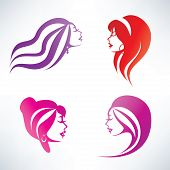 Women Hairstyle, Isolated Vector Symbols Collection