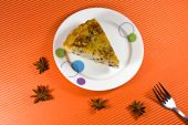 Tasty And Fresh Yellow Honey Pie With  Wallnut Decorations.