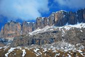 Contrasting Mountain Cliff In Passo Di Sella, The Italian Dolomites