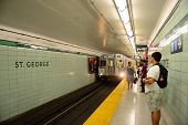 TORONTO, CANADA - JULY 3: Subway with passengers on July 3 in Toronto, Canada. 2012. Operated by Gov