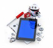Robot Repairing Tablet Computer.
