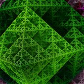 image of tetrahedron  - Part of sierpinski octahedron in green colors - JPG