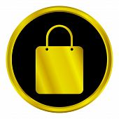 Gold Shopping Bag Button
