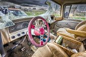 stock photo of cisco  - Abandoned shattered vintage cars in the ghost town of Cisco Utah - JPG