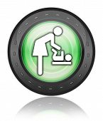 foto of diaper change  - Icon Button Pictogram with Baby Change symbol - JPG