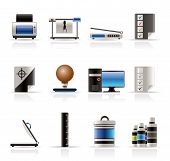 Realistic Print industry icons