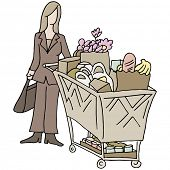An image of a grocery shopping woman.