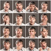 portraits of man with different expressions and gestures