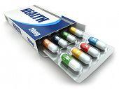 Health concept. Vitamin pills in box. 3d