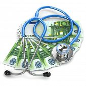 Health insurance. Stethoscope on euro banknotes.  3d