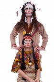 Native American Couple Isolated On White Background