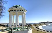 Rotunda on quay of Volga river. Yaroslavl, Russia