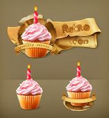 Festive cupcake with candle, retro vector icon