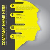 Vector infographic background with silhouette of head, contact icons and a place for text content. C