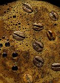 Coffee Foam And Coffee Beans
