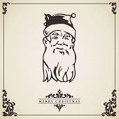 Santa Claus Vintage Christmas Card. Vector.
