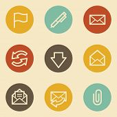 E-mail web icons, retro circle buttons