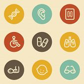 Medicine web icon set 2, retro circle buttons