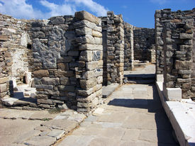 foto of phallus  - Architecture and details of historic city Delos near Mykonos Greece - JPG