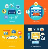 stock photo of car symbol  - Auto mechanic service flat icons of maintenance car repair - JPG