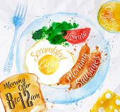 Breakfast watercolors sausage eggs