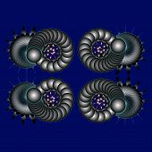 Graphic Composition With Balls On Blue Background
