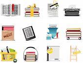 Livro e da biblioteca vector armazenam o conjunto de ícones