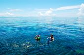 Koh Phi Phi, Thailand - September 13: Snorkeling Tourists On Turquoise Water Of Indian Ocean On Sept