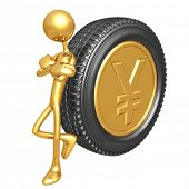 Gold Yen Coin Tire