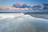 Sunrise Over North Sea At Low Tide