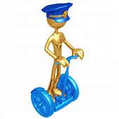 Golden Police Officer On Electric Scooter