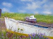picture of impressionist  - Old wooden boats in weeds and wildflowers with impressionistic effect - JPG