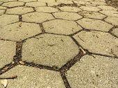 Closeup Of Hexagonal Stone Sidewalk Texture Background