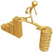 Golden Key Bridge Between Bar Graph And Yen Coins